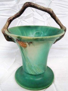 Vintage Original Roseville Pottery Pine Cone Basket