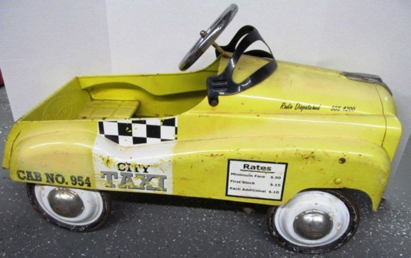 Vintage Instep Yellow City Taxi Cab Peddle Car