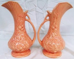 "Vintage Set Of 2 Mccoy Pottery 9"" Ewers ~ Rare Color"