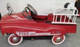 Vintage Red Fire Dept Jet Flow Drive Metal Peddle Car