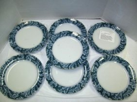 "Lot Of 7 Antique ""boness"" Flow Blue 10 1/2"" Plates ~"