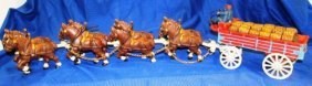 Cast Iron Clydesdale Horses W/beer Wagon