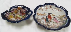 "Lot Of 2 Oriental Flow Blue Dishes ~ 8"" & 7"""