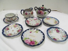 Lot Of 11 Misc. Porcelain Flow Blue Pieces