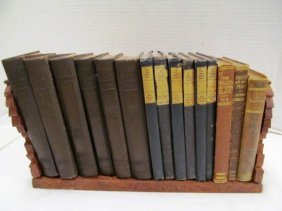 Lot Of 15 Antique Books On Wood Book Holder ~ 6 Volumes