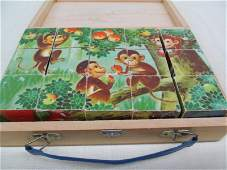 Vintage Wood 6 Sided Wood Block Puzzle Picture Cubes In