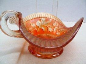 """Unique Marigold Carnival Glass Fancy Nappy ~7 1/2"""" X 3"""""""