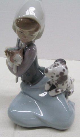 "Lladro Girl W/puppy & Kitten ~ 7"" Tall"