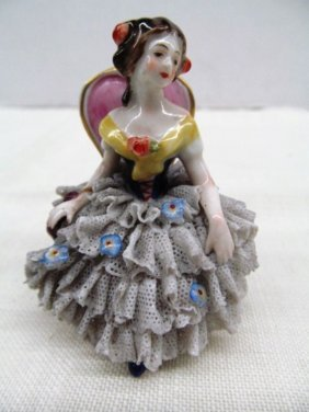"""Vintage Dresden Lacey Lady In Chair 2 1/2"""""""