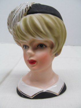Vintage Relpo K1661 Blonde Lady Head Vase W/feather Hat