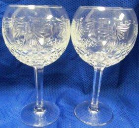 "Pair Of Waterford Crystal Millennium Goblets 8"" Tall"