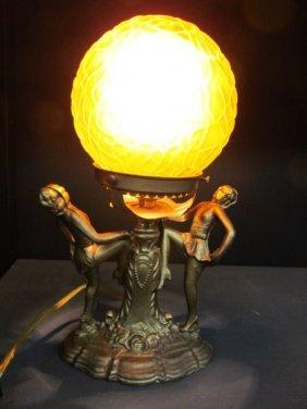 Vintage Art Deco / Art Glass Amber Glass Ball Lamp 11