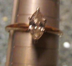 14k Gold 1/2 Karat Marquise Diamond Engagement /