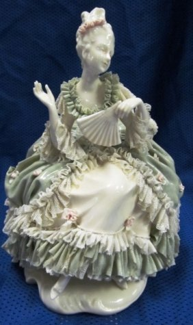 "Dresden Germany Lacey Lady On Chair W/fan ~ 9"" Tall ~"