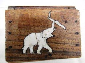 Vintage Wood Cigarette Dispenser Wood Box W/ivory