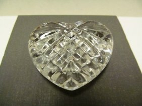 Waterford Crystal Heart Hand Cooler / Paperweight ~ 3""