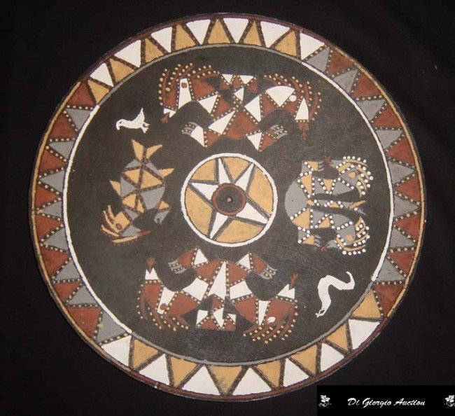 16: Ceiling Wheel, Wood natural pigments, Indian Tribe: