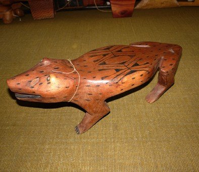 21: Bank wood carved, painted natural pigments, Indian