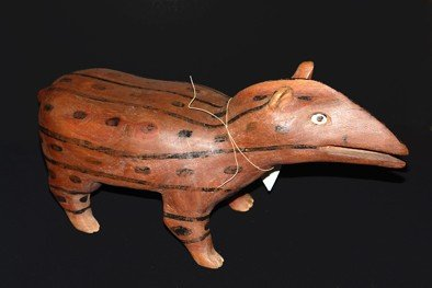 23: Bank wood carved, painted natural pigments, Indian
