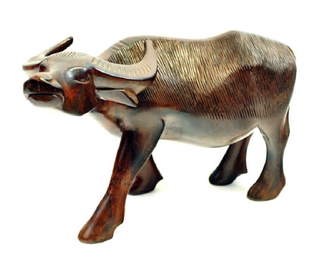 Vintage Asian Carved Water Buffalo Statue