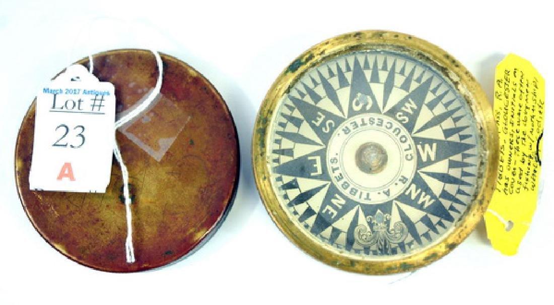 19th Century Dory Compass RA Tibbetts Gloucester