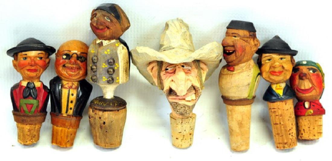 7 Piece Vintage Hand Carved German Wine Stoppers