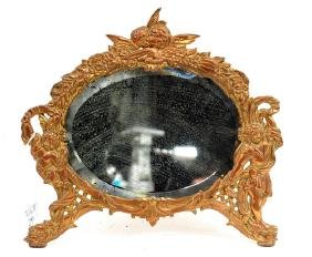 Antique Bronze Victorian Desk Mirror