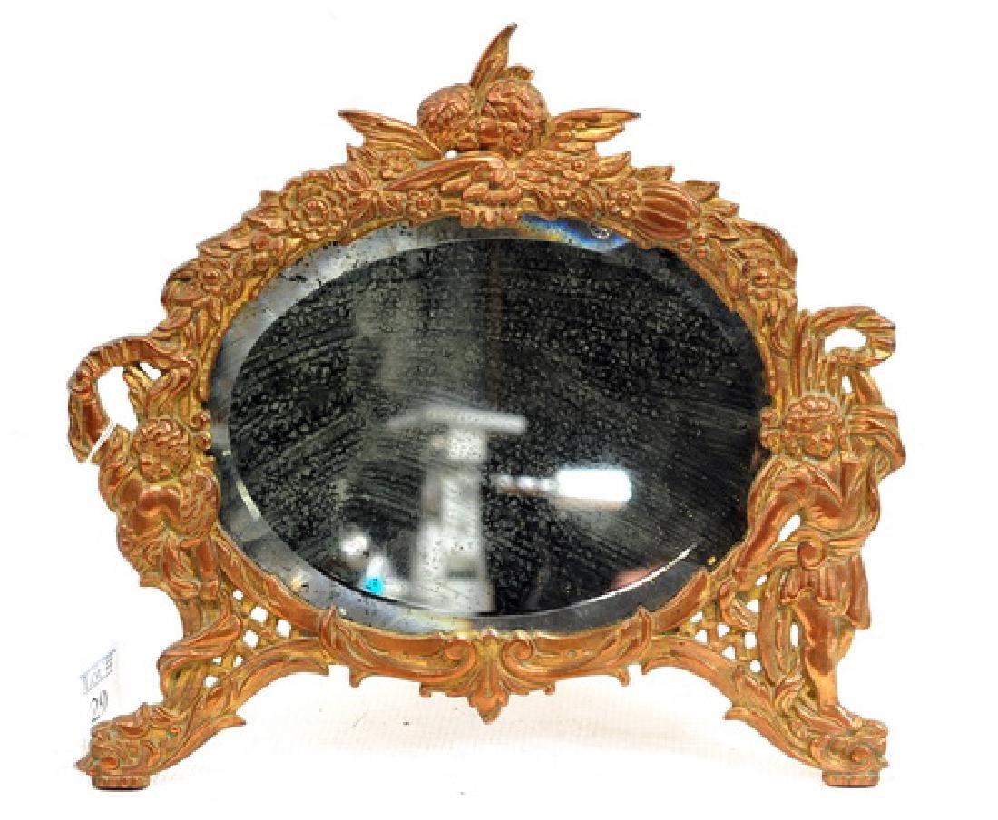 Antique Bronze Victorian Desk Mirror