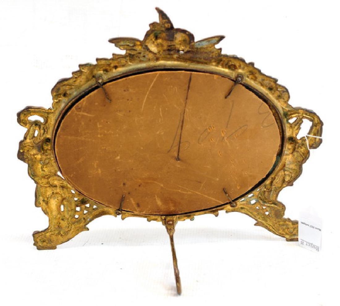 Antique Bronze Victorian Desk Mirror - 2