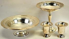 Sterling Bowl, 2-Egg Cups & Candy Dish