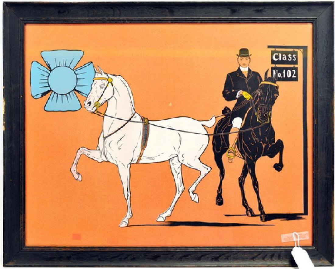 Antique Print Horses and Blue Ribbon