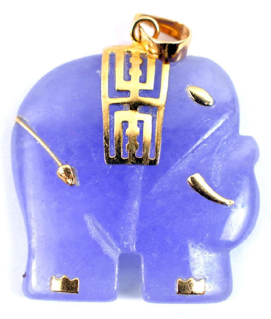 10K Yellow Gold Purple Jade Elephant