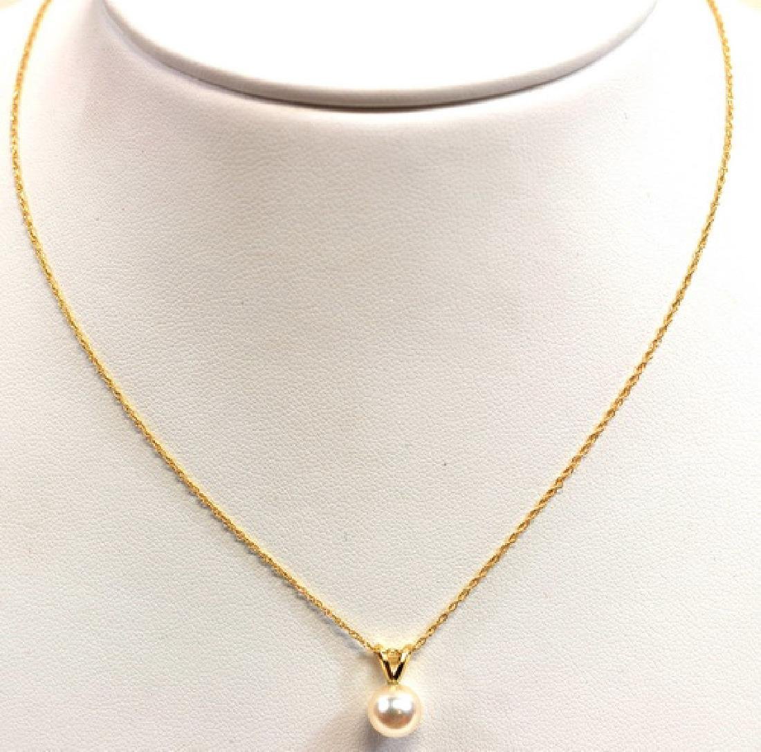 14K Yellow Gold Ladies Pearl Necklaces
