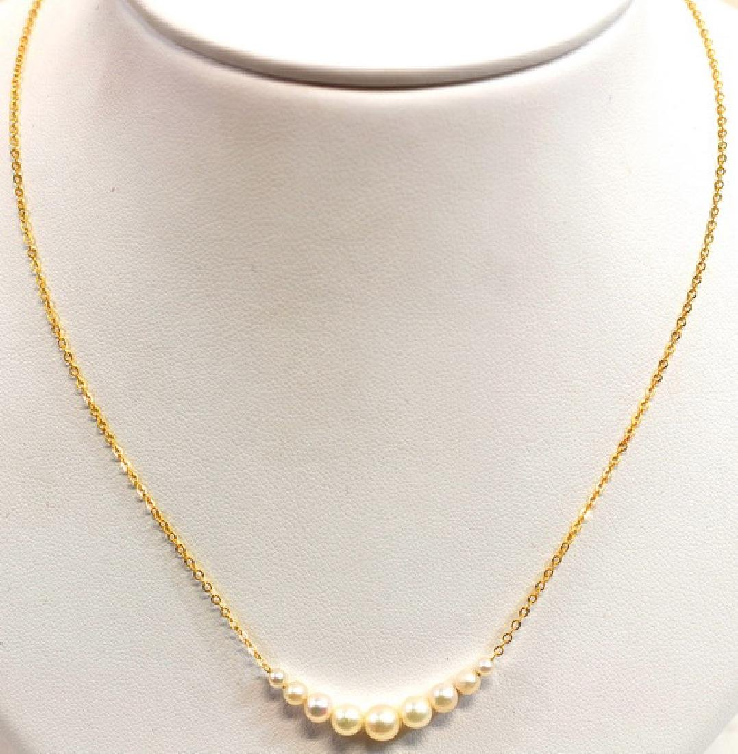 14K Yellow Gold Ladies Pearl Necklaces - 3