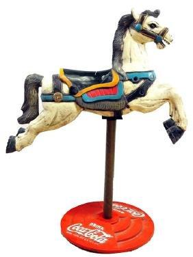 Vintage Coca Cola Carved Horse/Pedestal Ad Piece