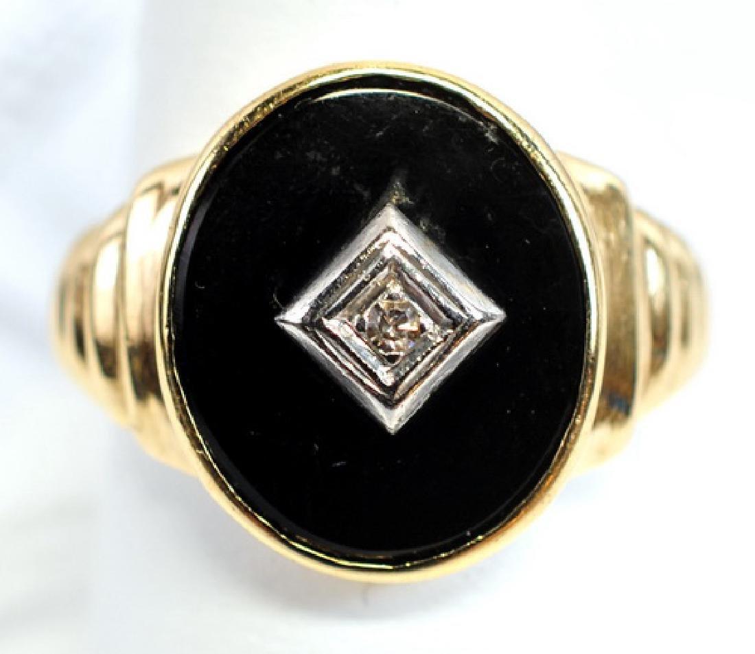 Men's Diamond Onyx 10K Ring Yellow gold