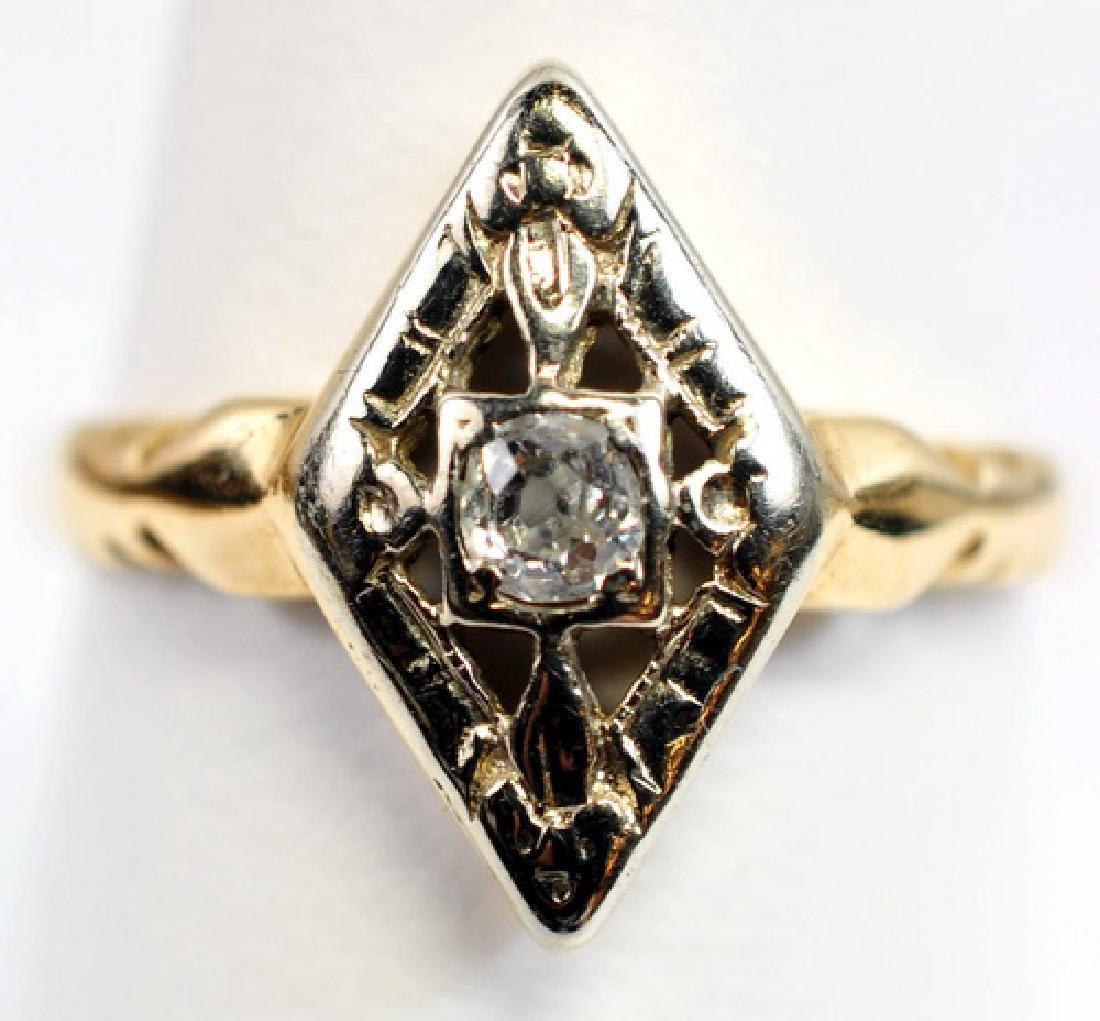 2 Antique Ladies 14K Gold Diamond rings - 3