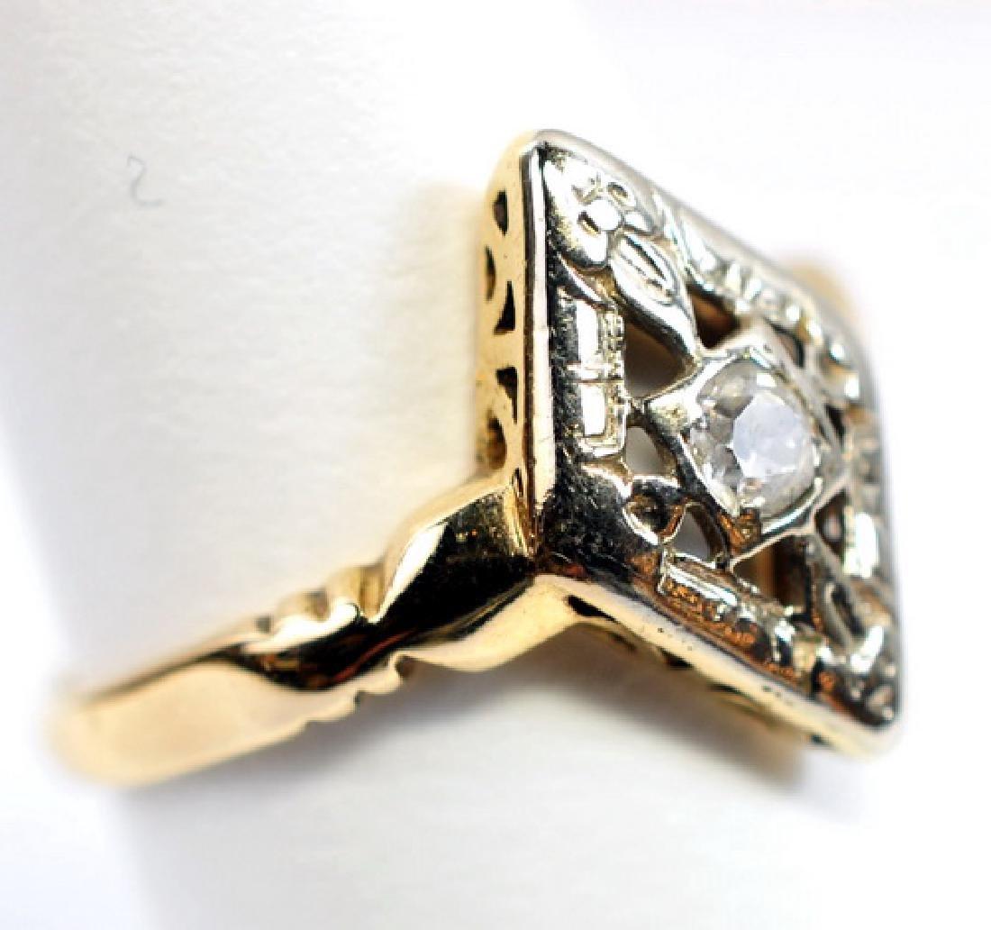 2 Antique Ladies 14K Gold Diamond rings - 4