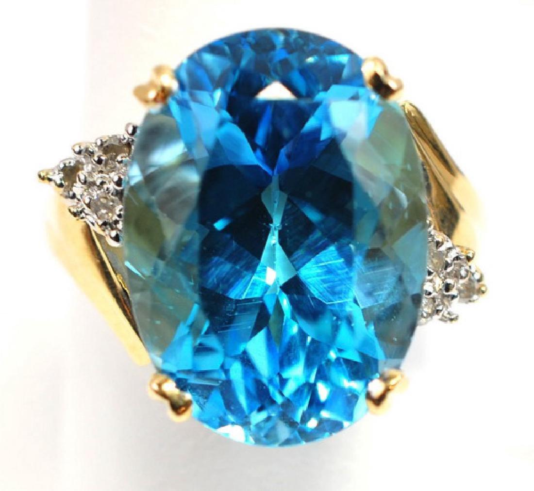 Ladies 14K Blue Topaz & Diamond ring