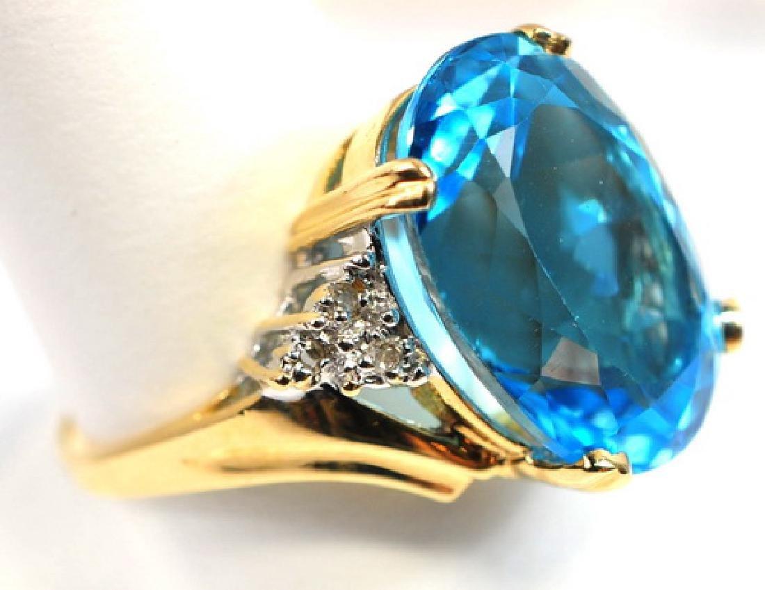 Ladies 14K Blue Topaz & Diamond ring - 2