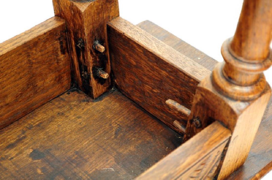 Antique Carved Oak Bench, Intricate design - 2
