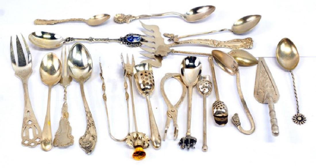 Sterling silver spoons forks tongs
