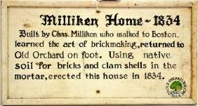 1834 Milliken House hand Painted Sign
