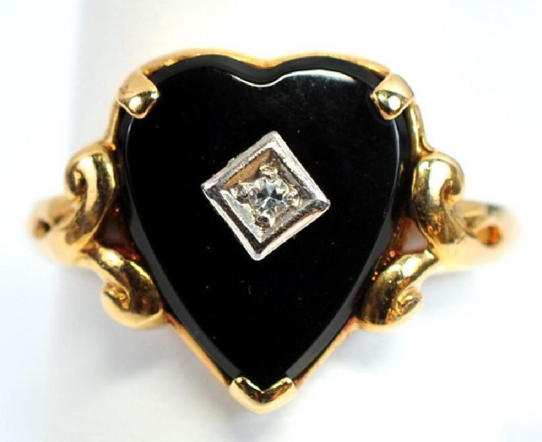 Antique Ladies Diamond Onyx 10K Ring