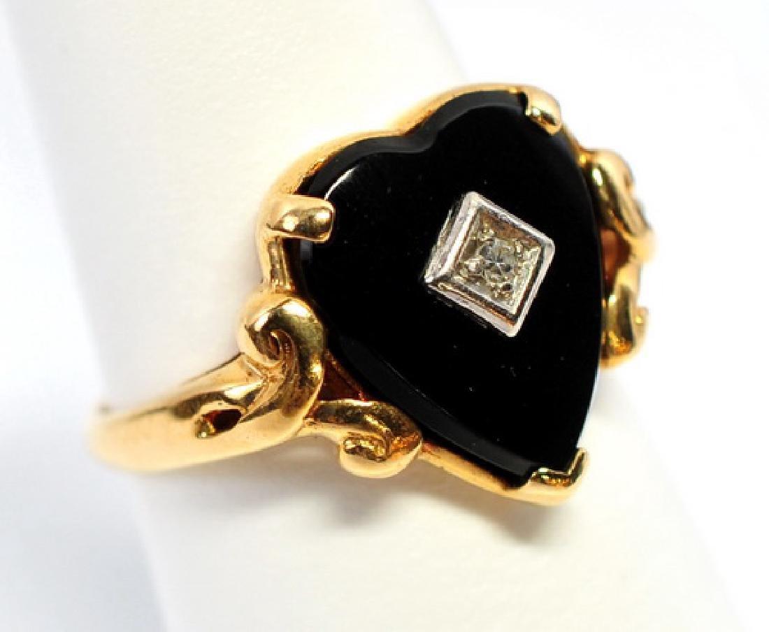 Antique Ladies Diamond Onyx 10K Ring - 2