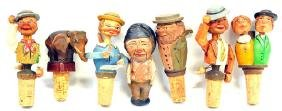 7 Piece Antique Hand Carved German Wine Stoppers