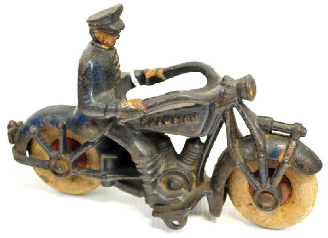 """Champion 7"""" Cast Iron Motorcycle Toy"""
