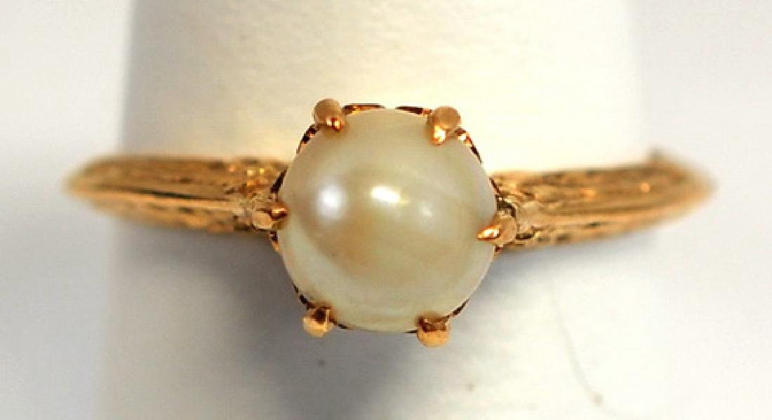 Antique 10K Yellow Gold Ladies Pearl Ring