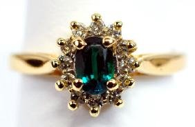 Ladies 14k Gold Emerald Diamond ring