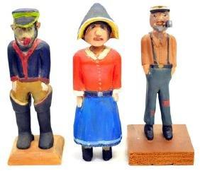 Three Pieces 1940's Maine Folk Art Figures